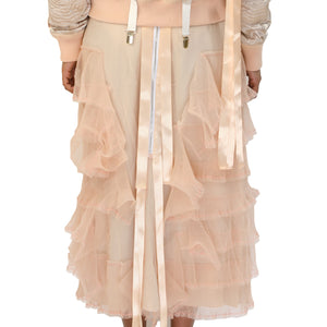 NicoPanda Ruffled Long Skirt Apricot - Concrete