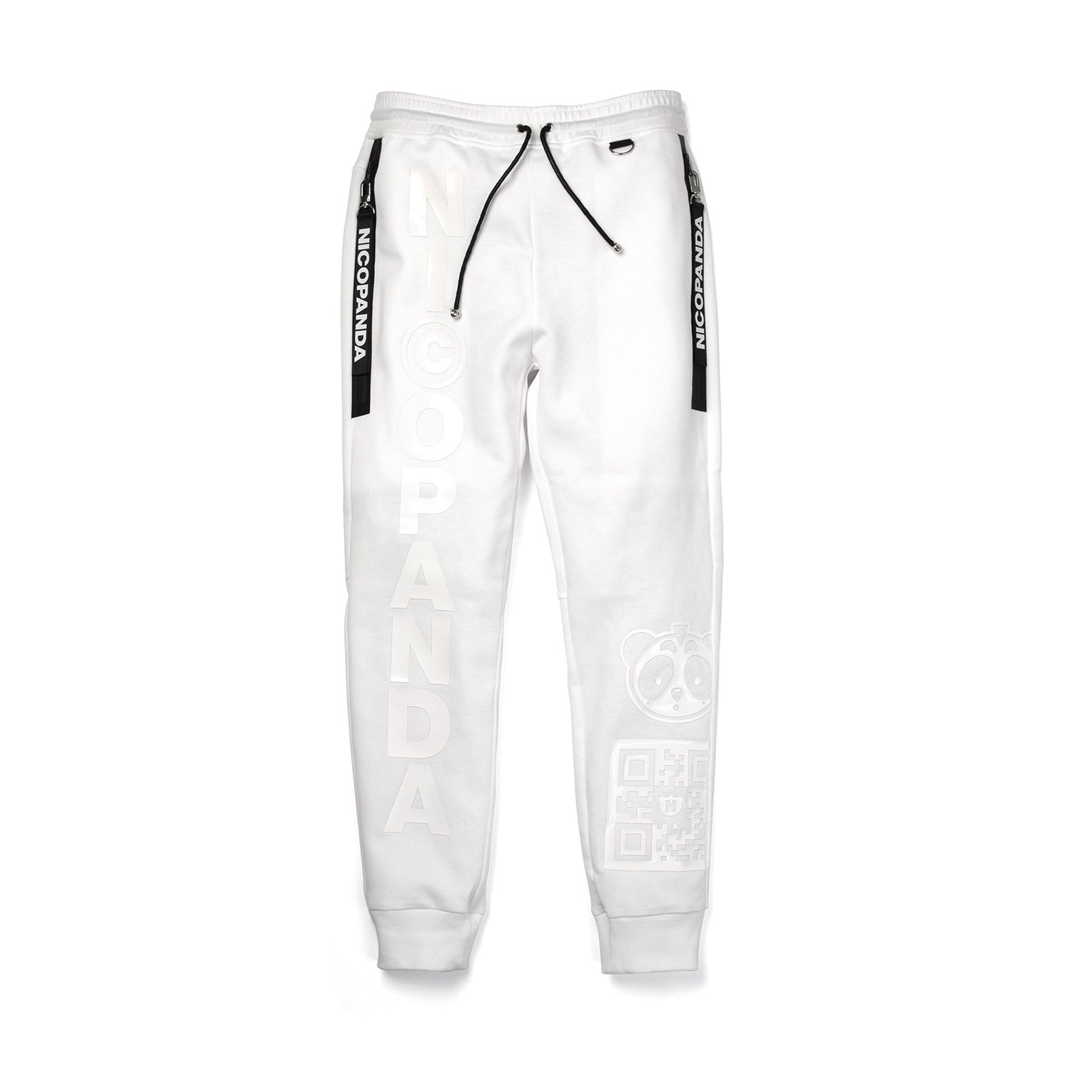 NicoPanda Knitted Panda Nation Sweatpants White