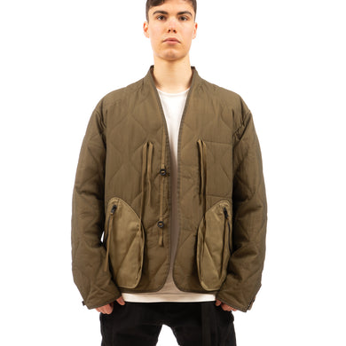 Nilmance | Quilted Padded Button Jacket PB-02 Olive - Concrete