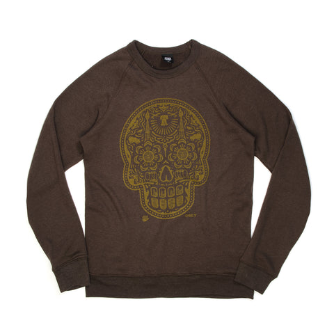 Obey Power And Glory Skull Crew Vintage Black - Concrete