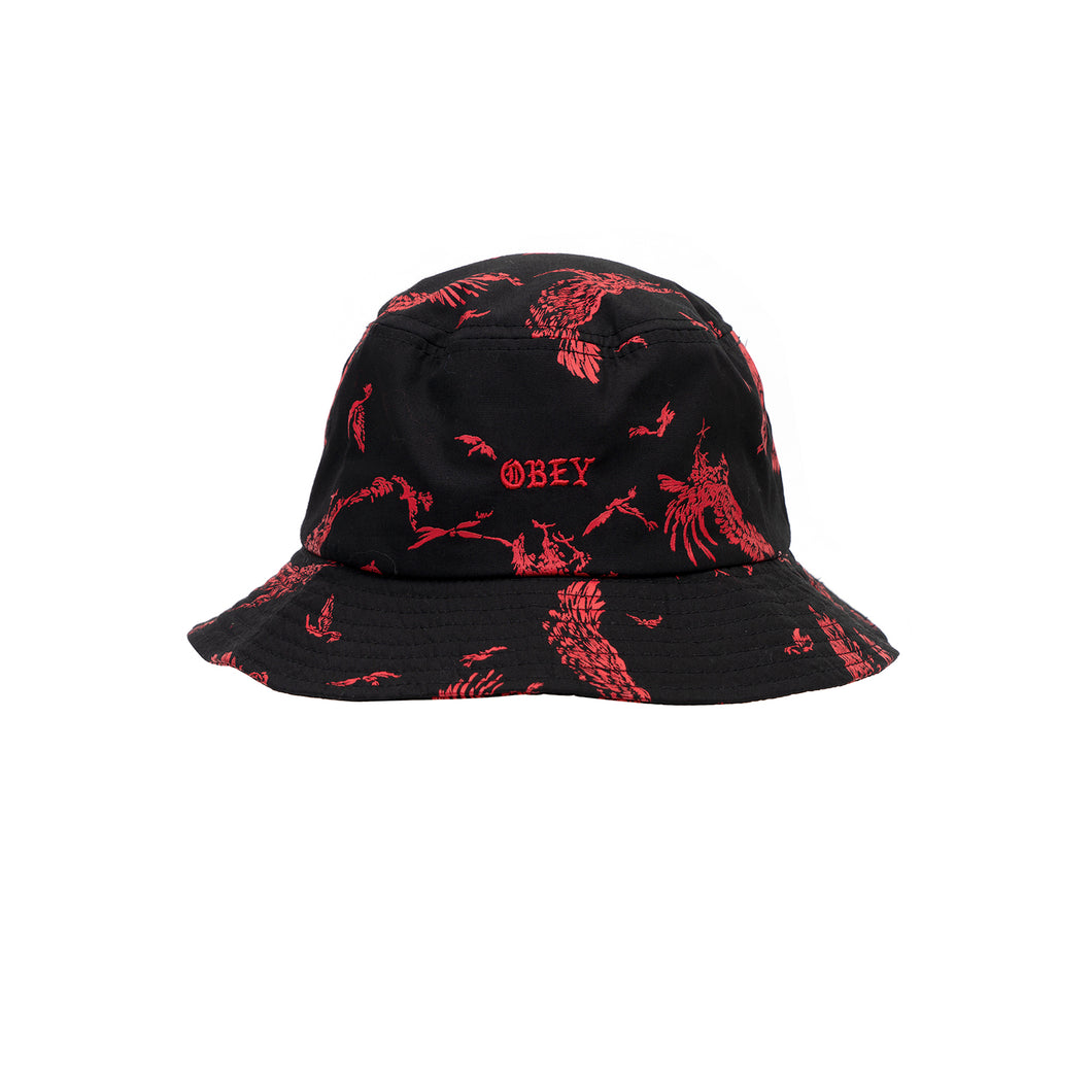 Obey Death Touch Bucket Hat Red Multi