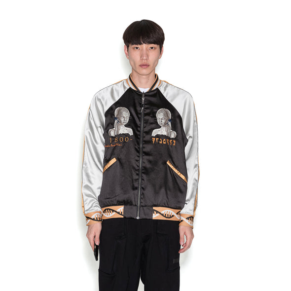 Perks and Mini (P.A.M.) | Team Work Reversible Satin Jacket Black Shadow - Concrete
