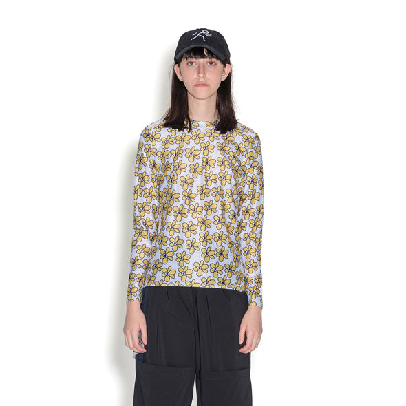Perks and Mini (P.A.M.) | Gated Sport Eyelet L/S Top Daisies - Concrete
