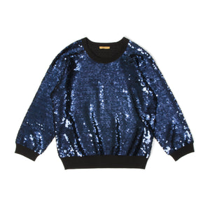 Peter Jensen | W Sequin Jumper Black/Navy - Concrete