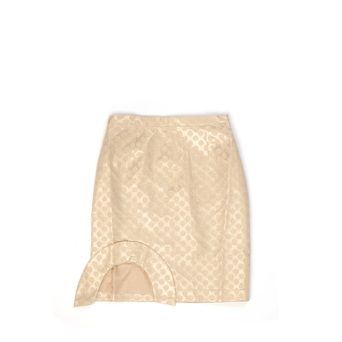 Peter Jensen W Dot Jacquard Cut Frill Pencil Skirt Gold - Concrete