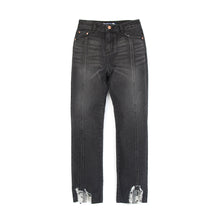 Load image into Gallery viewer, SJYP | Hem Destroyed Boyfriend Jeans Black - Concrete