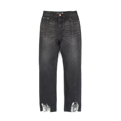 SJYP | Hem Destroyed Boyfriend Jeans Black - Concrete