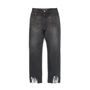 SJYP Hem Destroyed Boyfriend Jeans Black