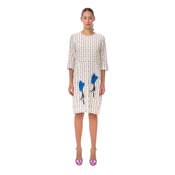 Peter Jensen W Demi Sleeve Dress with Embroidery Polkadot - Concrete