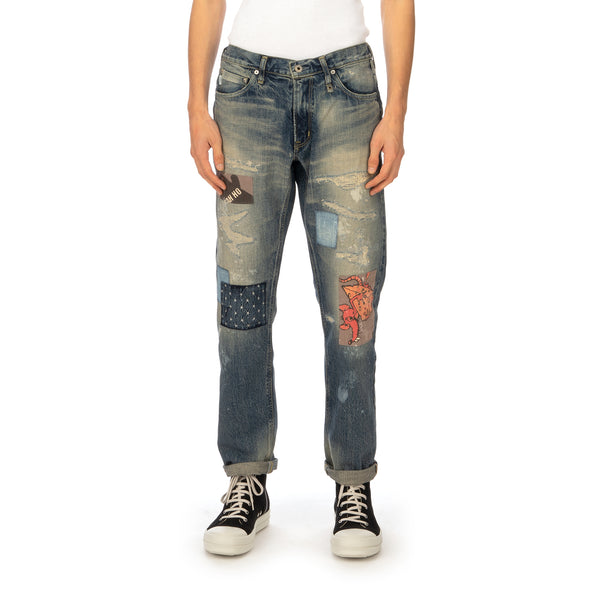 Poggy's Box | x FDMTL Patch Denim Pants Indigo - Concrete