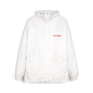 Polythene* Optics | Zipped Nylon Windbreaker Jacket White - Concrete