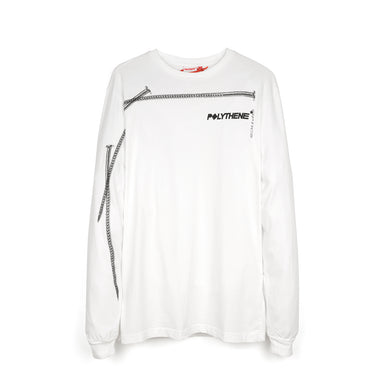 Polythene* Optics | Nails Long Sleeve T-Shirt White - Concrete