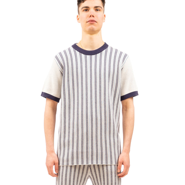 Propaganda Agency | Front Stripe Sweater T-Shirt Navy - Concrete