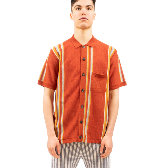 Propaganda Agency | Vintage Stripe Button Down Polo Burnt Orange - Concrete