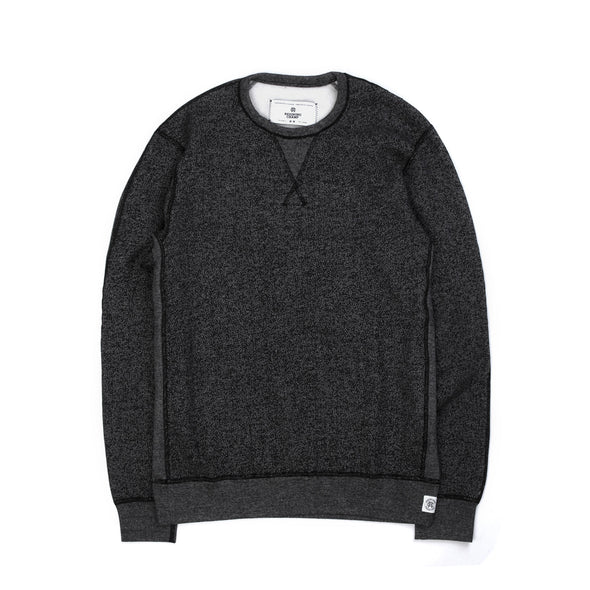 Reigning Champ | Knit Tiger Fleece Long Sleeve Crewneck Black - Concrete