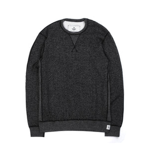 Reigning Champ Knit Tiger Fleece Long Sleeve Crewneck Black