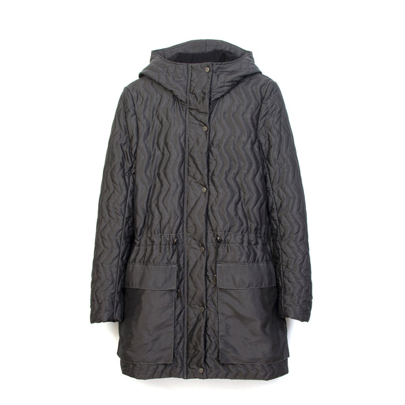 Christopher Raeburn Womens Zig Zag Quilted Coat Black - Concrete