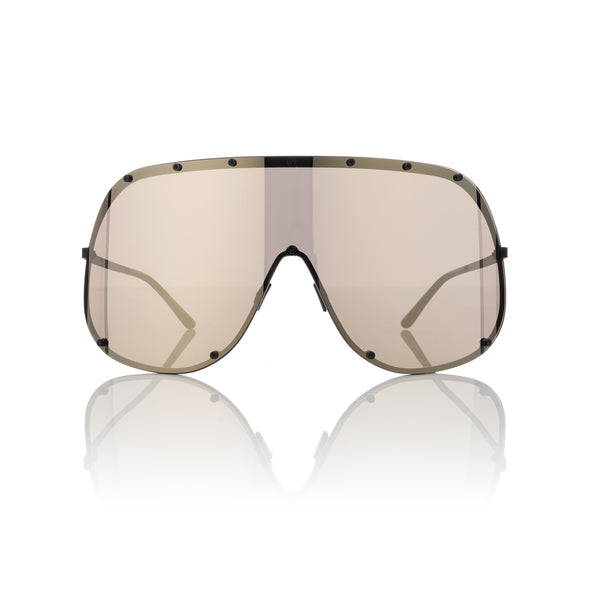 Rick Owens | Sunglasses Shield Black Temple / Flash Gold Lens - Concrete