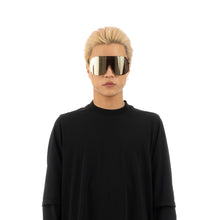 將圖像加載到畫廊查看器中Rick Owens | Sunglasses Shield Black Temple / Flash Gold Lens
