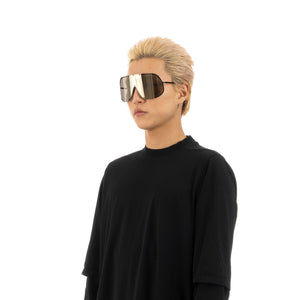Rick Owens | Sunglasses Shield Black Temple / Flash Gold Lens