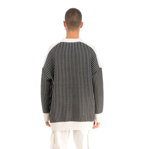 Henrik Vibskov | Root Knit Black / White Stripes - Concrete
