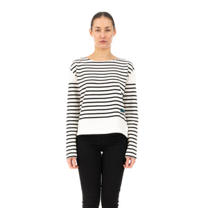 SELF CINEMA | W Breton White / Black Stripe - Concrete