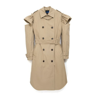 SJYP Ruffle Cut Trench Coat Beige