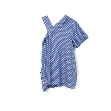 SJYP | Stripe One Shoulder Off Blouse Ocean Blue - Concrete