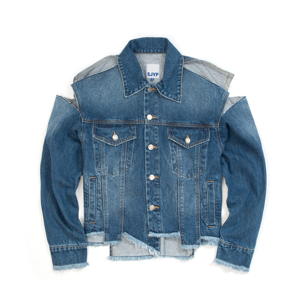 SJYP Unbalanced Destroyed Denim Jacket Denim Blue