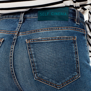 SELF CINEMA | W Slim Straight Jean Mid Blue Vintage