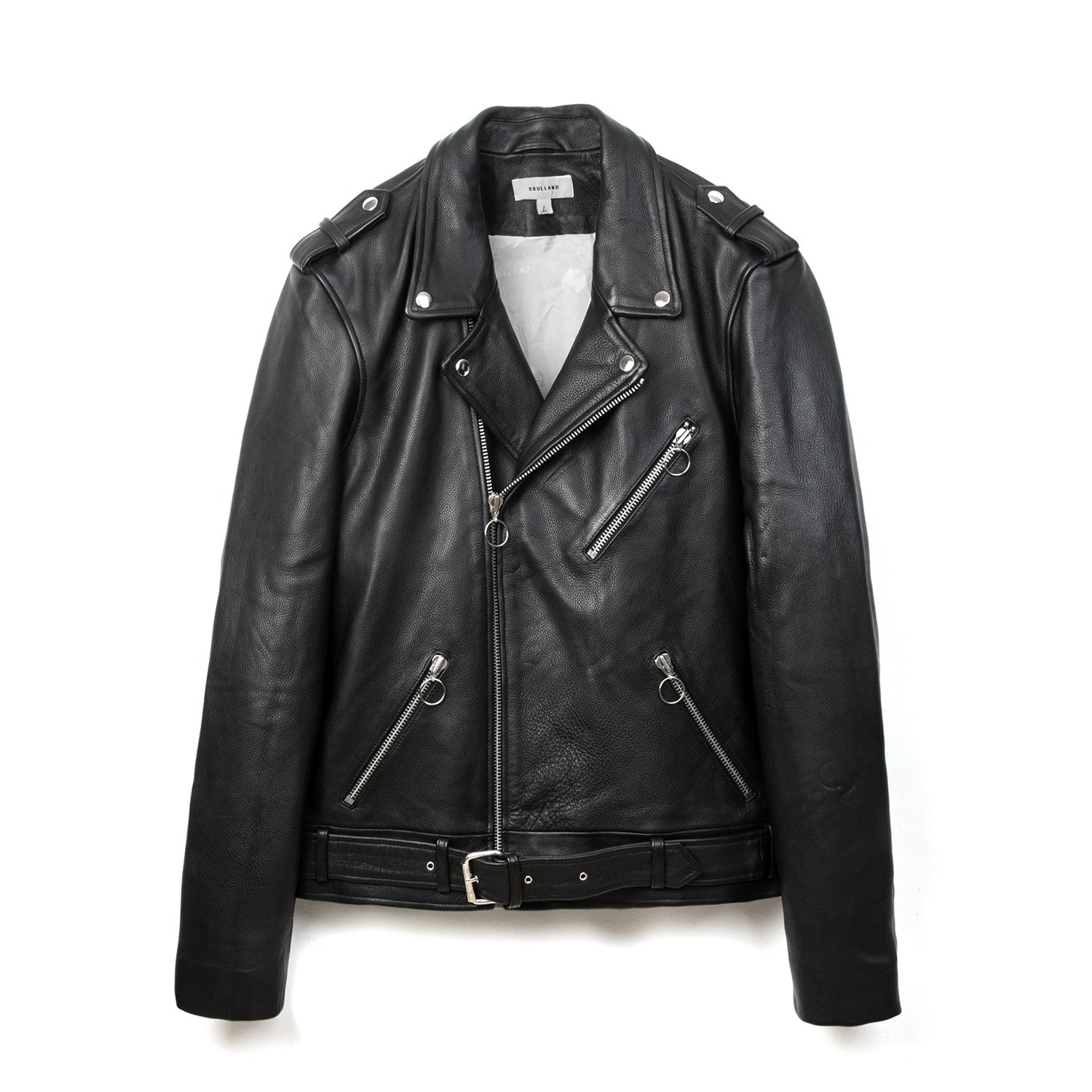 Soulland Richenback Heavy Leather Biker Jacket Black