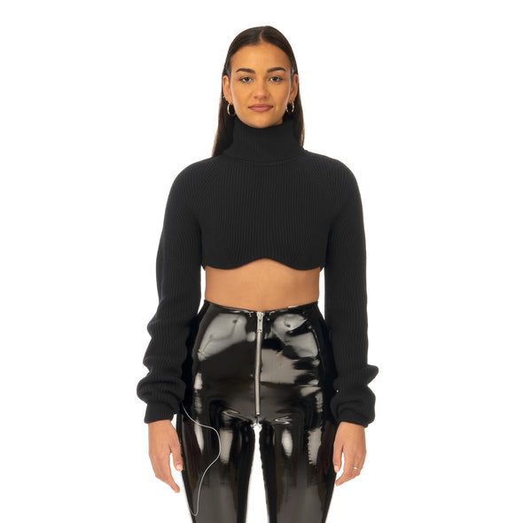 TTSWTRS | Knitted Wool Top Black
