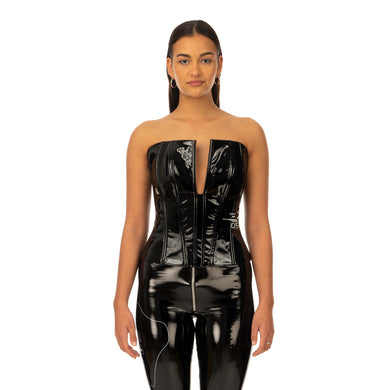 TTSWTRS | Patent Leather Corset Black - Concrete
