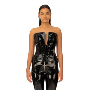 TTSWTRS | Patent Leather Corset Black