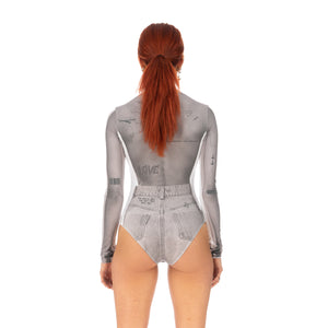 TTSWTRS | 'Collage' Bodysuit White - Concrete