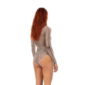 TTSWTRS | 'Collage' Mesh Bodysuit White - Concrete