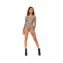 Load image into Gallery viewer, TTSWTRS | 'Collage' Mesh Bodysuit White - Concrete
