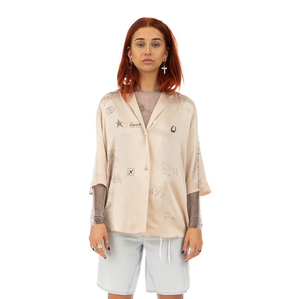 TTSWTRS | Hawaiian Silk Shirt Beige - Concrete