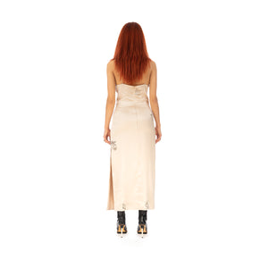 TTSWTRS | Tattooed Silk Dress Beige