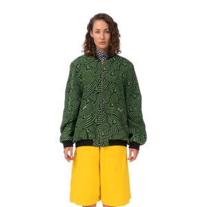 Henrik Vibskov Breath In Bomber Jacquard Green / Navy