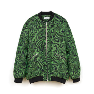 Henrik Vibskov | Breath In Bomber Jacquard Green / Navy - Concrete