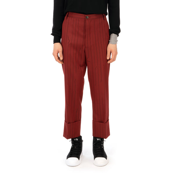 Vivienne Westwood | Cropped George Trousers Red - Broken Pinstripe - Concrete