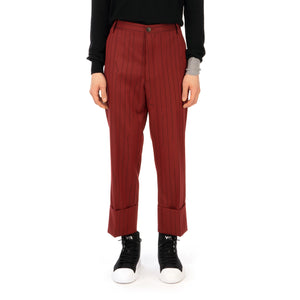 Vivienne Westwood | Cropped George Trousers Red - Broken Pinstripe