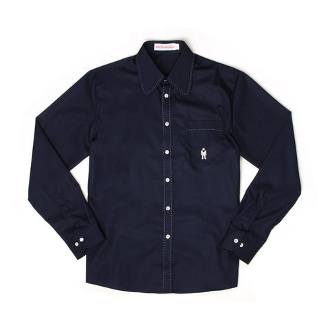 Walter van Beirendonck Slim Fit Shirt Round Embroid CC13 Navy - Concrete