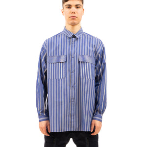 White Mountaineering | Multi Stripe Wide Shirt Blue - Concrete