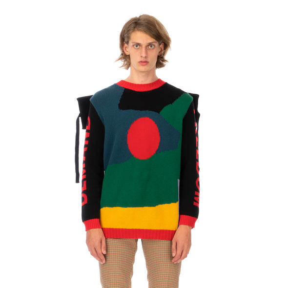 Walter Van Beirendonck | Demand Freedom Collared Knitted Crew Black - Concrete