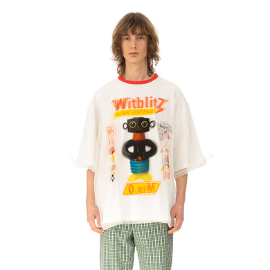 Walter Van Beirendonck O-Arm Double Oversized T-Shirt White / Transparant