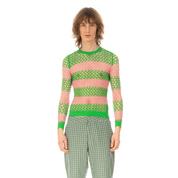 Walter Van Beirendonck | Whale Net Top (Stripes) Green / Pink - Concrete