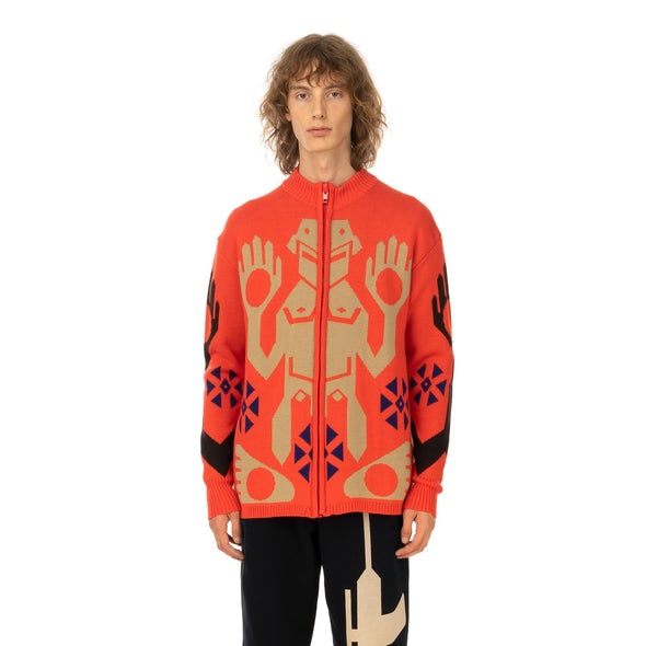 Walter Van Beirendonck | King Zip Knitted Sweater Orange - Concrete
