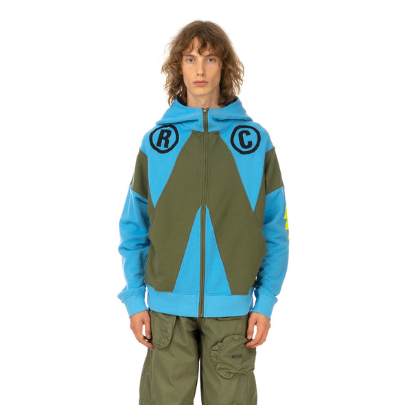 Walter Van Beirendonck | 'Wonder' Zipped Hooded Sweat Blue - Concrete
